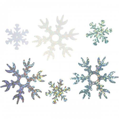 Flitr vločky 25+45 mm, sv. modrá, bílá, stříbrná, sněhová vločka, 30 g