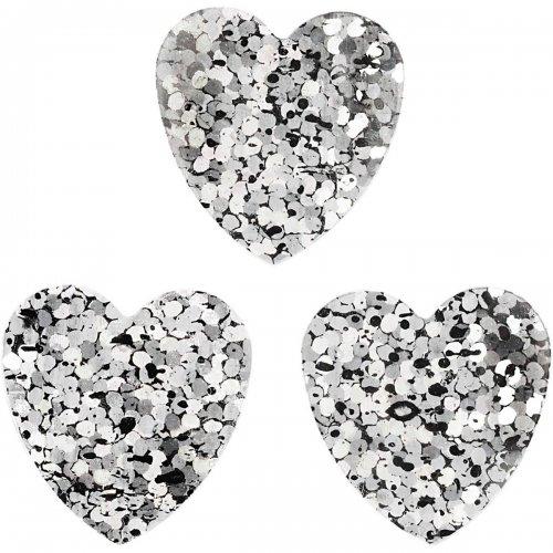 Flitry stříbrné, 16 mm, srdce, 10 g
