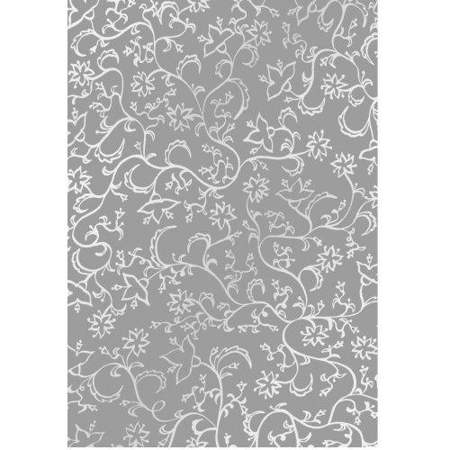 Transparentní papír extra silný KVĚTINY ŠEDÁ/BÍLÁ DIN A4 10 listů 115 g / m2