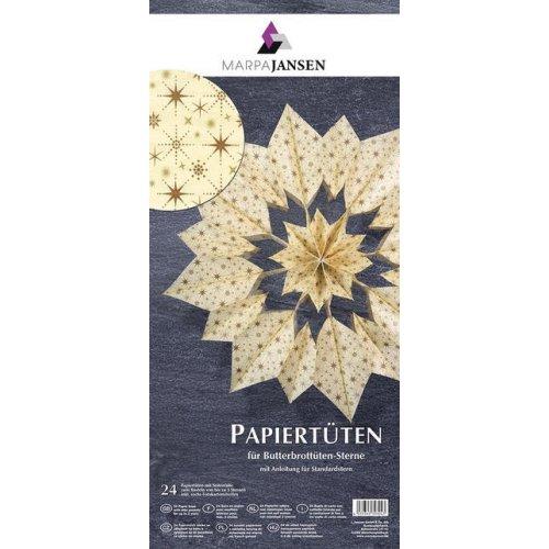 Hobby papírové sáčky pro tvoření hvězd,  ZLATÁ /VANILKOVÁ, 24 kusů 10 x 22 cm  g/m2