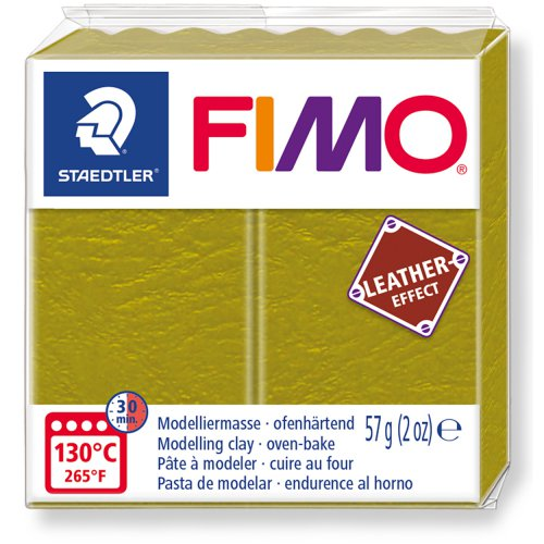 FIMO LEATHER efekt 57g OLIVOVÁ ZELENÁ