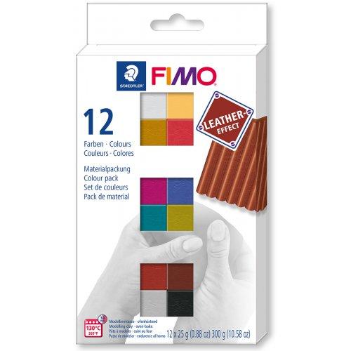 FIMO LEATHER Efekt sada 12 barev 25 g