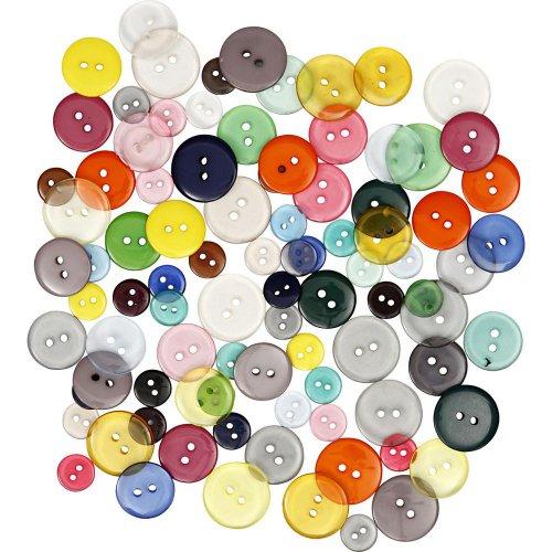 Knoflíky barevné plastové mix 100 ks