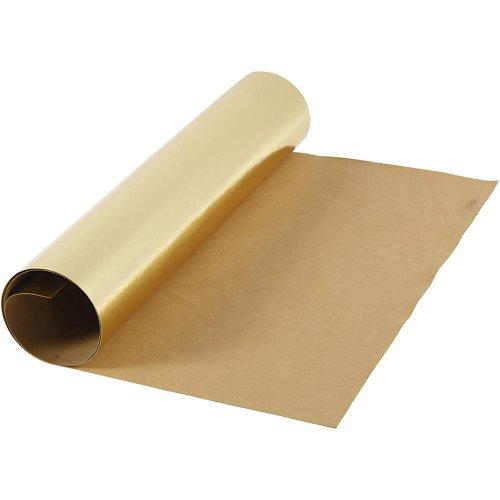 Papírová imitace kůže, šířka 50 cm - ZLATÁ
