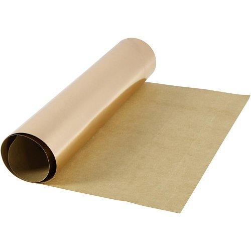 Papírová imitace kůže, šířka 50 cm - RŮŽOVOZLATÁ