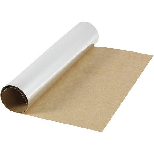 Papírová imitace kůže, šířka 50 cm - STŘÍBRNÁ