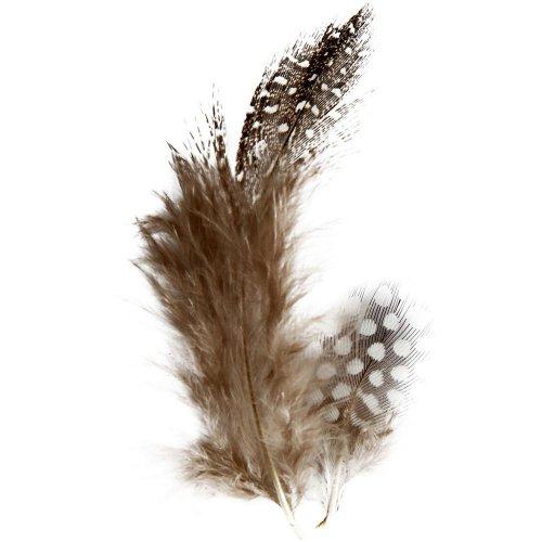 Peří z perliček - hnědé