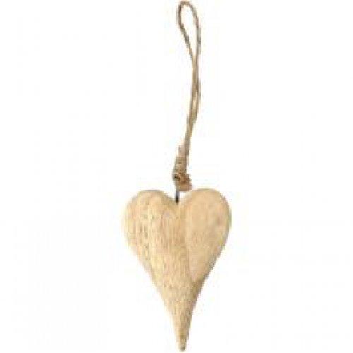 Dřevěné srdce na šňůrce, výška 9,5 cm