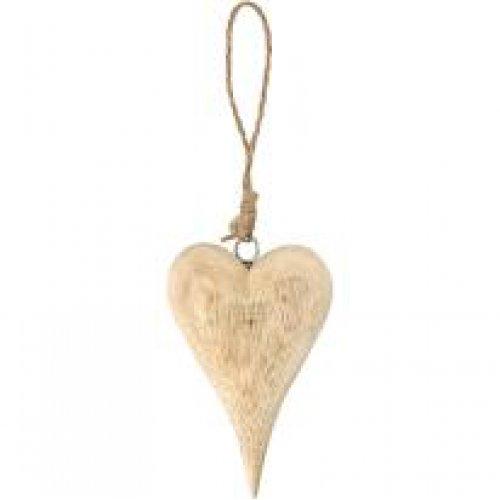 Dřevěné srdce na šňůrce, výška 12 cm