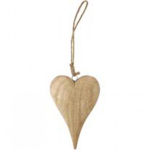 Dřevěné srdce na šňůrce, výška 15 cm