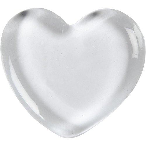 Skleněné srdce průhledné, 7 cm x 7 cm, tloušťka 1 cm