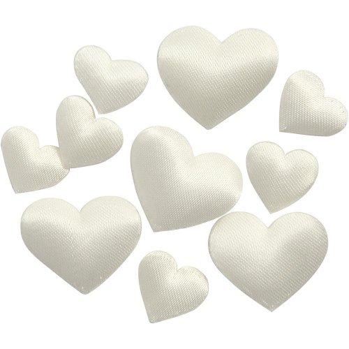 Saténová srdce bělavé