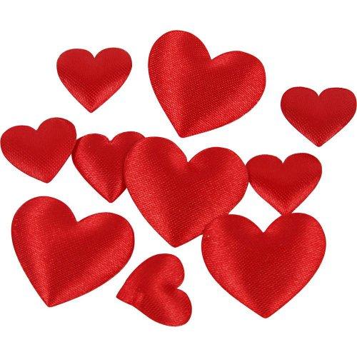 Saténová srdce červená