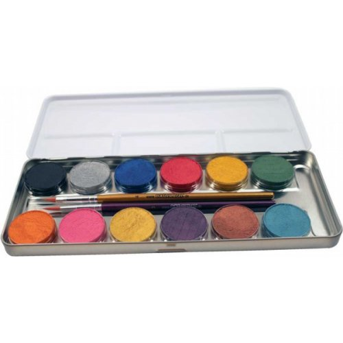 Sada 12 perleťových barev v kovové paletě