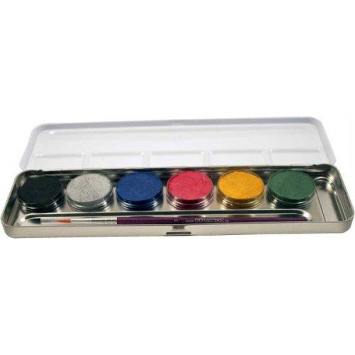 Sada 6 perleťových barev v kovové paletě