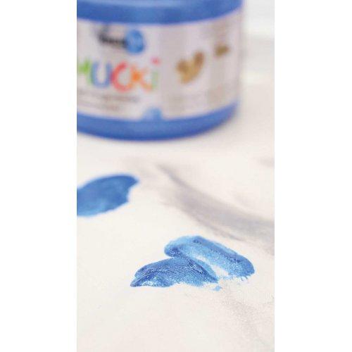 Prstová barva na textil MUCKI třpytivá modrá 150 ml - MUCKI_Prstove_barvy_textil_trpytive_image4.jpg