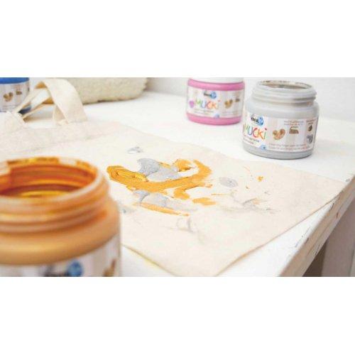 Prstová barva na textil MUCKI třpytivá zlatá 150 ml - MUCKI_Prstove_barvy_textil_trpytive_image1.jpg