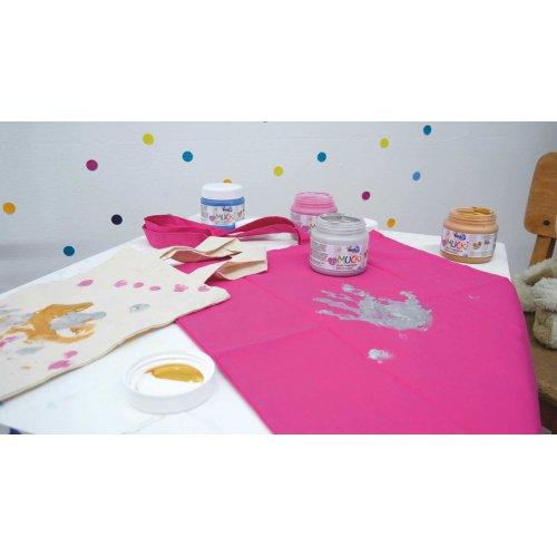 Prstová barva na textil MUCKI třpytivá zlatá 150 ml - MUCKI_Prstove_barvy_textil_trpytive_image5.jpg