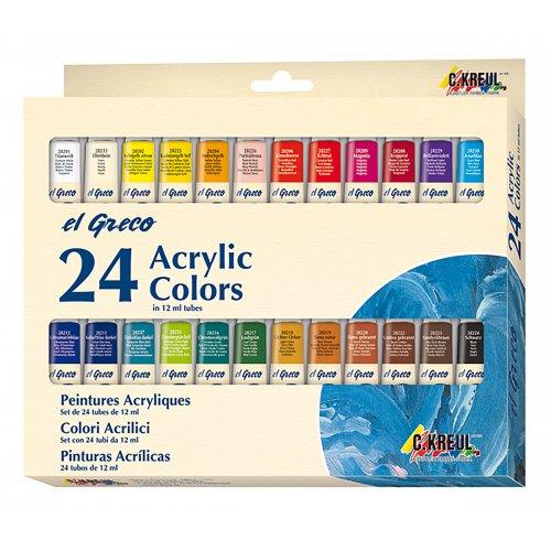 EL GRECO Akrylové barvy sada 24 barev 12 ml - ROZBALENO