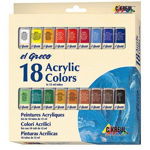 EL GRECO Akrylové barvy sada 18 barev 12 ml - ROZBALENO