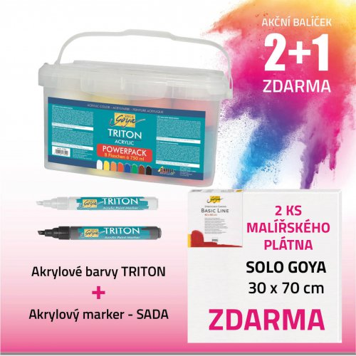Akční balíček č. 3 - barvy + marker+ plátno
