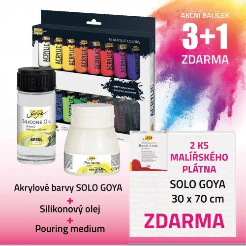 Akční balíček č. 5 - barva + pouring + olej + 2x plátno