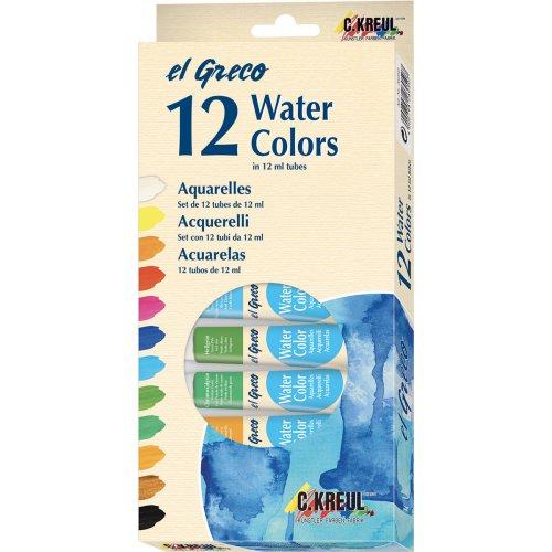 Sada Akvarelové barvy EL GRECO, v tubách 12 ml, 12 barev - ROZBALENO