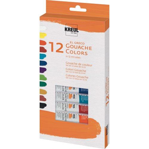 Sada Kvašové barvy EL GRECO, v tubách, 12 barev - ROZBALENO