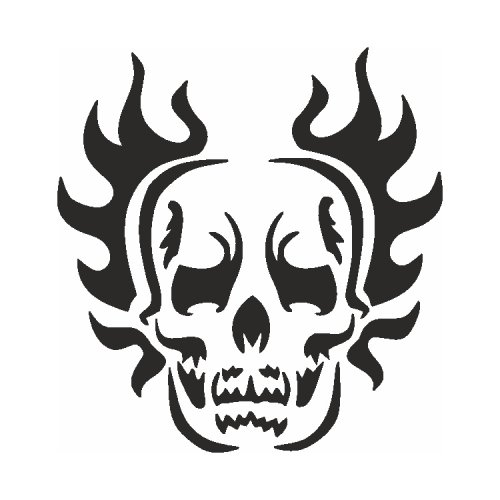Samolepící šablony - Lebka hořící