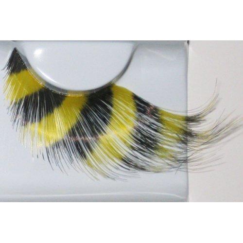 Umělé řasy - Žluté peří s černými podélnými pruhy