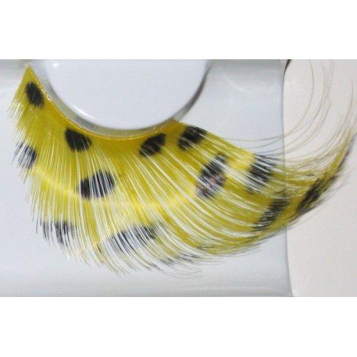 Umělé řasy - Žluté peří s černými puntíky