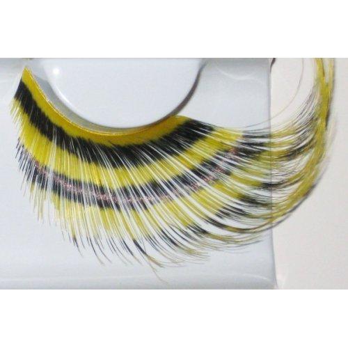 Umělé řasy - Žluté peří s černými pruhy