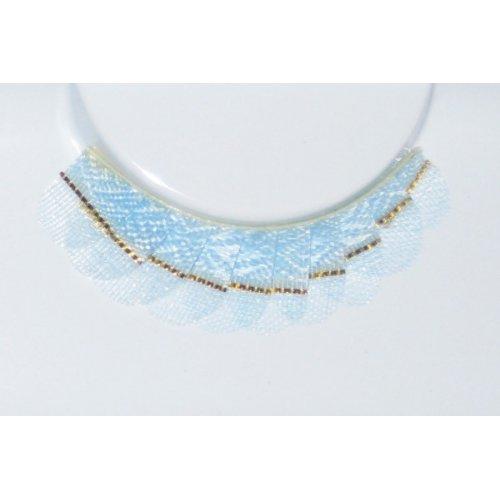 Umělé řasy - Pastelově modré se zlatými pásky