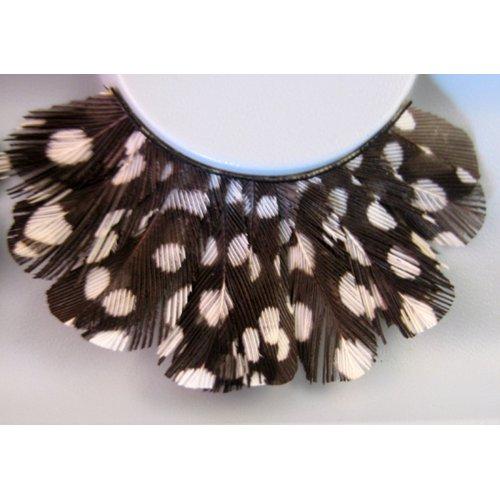 Umělé řasy - Černé peří s bílými puntíky a drahokamy