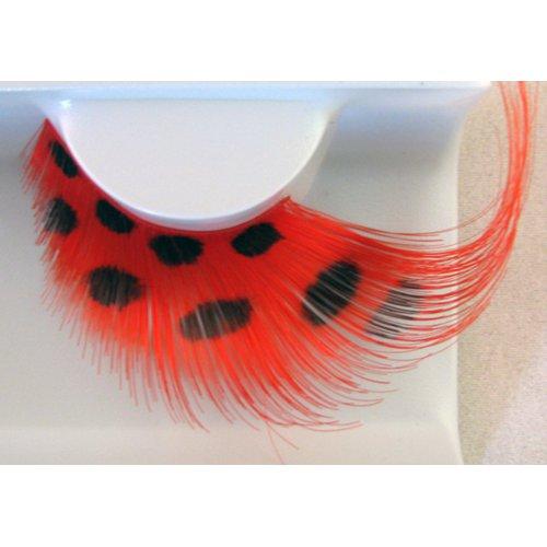 Umělé řasy - Červené peří s černými puntíky