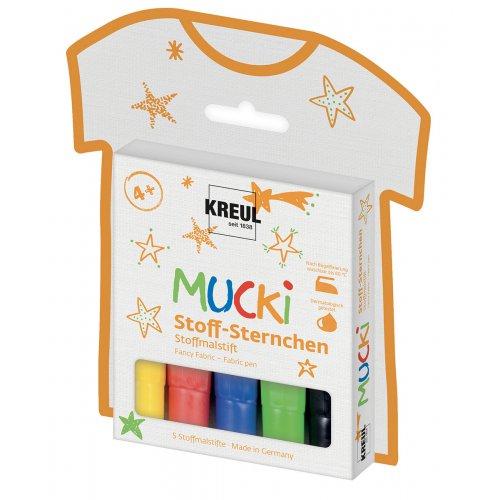 Fixy na textil MUCKI HVĚZDY 5 barev