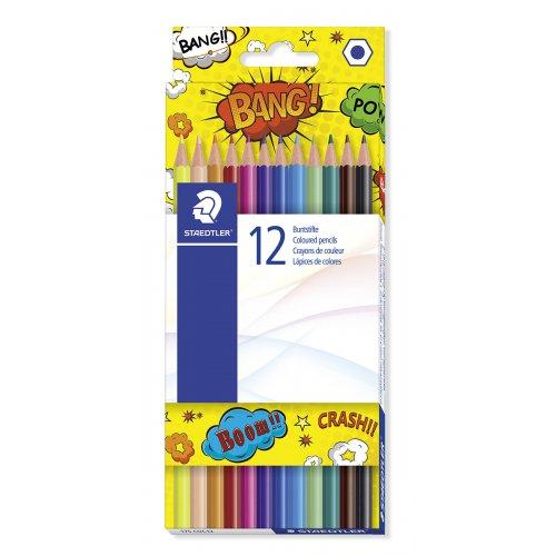 """Pastelky """"Comic"""", 12 různých barev, sada, mix motivů, šestihranné, STAEDTLER"""