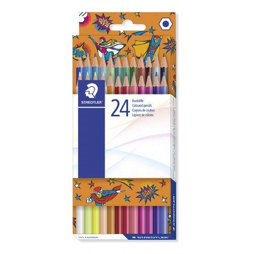 """Pastelky """"Comic"""", 24 různých barev, sada, mix motivů, šestihranné, STAEDTLER"""