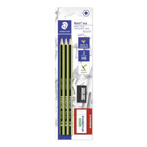 """Grafitová tužka """"Noris eco"""", sada s pryží a ořezávátkem, HB, šestihranná, STAEDTLER"""