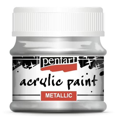 Akrylová barva metalická 50 ml STŘÍBRNÁ