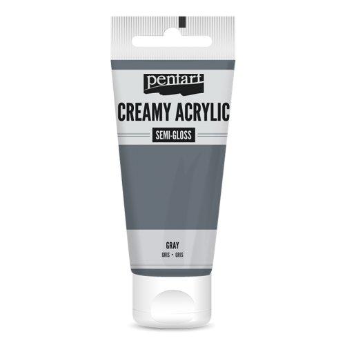 Krémová akrylová barva pololesklá 60 ml ŠEDÁ