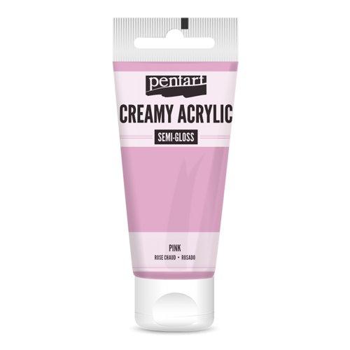Krémová akrylová barva pololesklá 60 ml RŮŽOVÁ