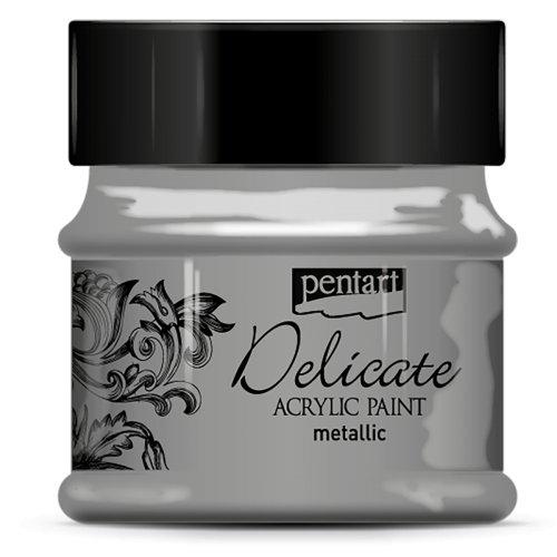 Akrylová barva delikátní metalická PENTART 50 ml ANTICKÁ STŘÍBRNÁ