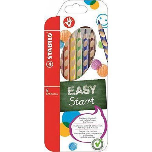 Barevná pastelka Easycolours, HB, trojhranná, pro praváky, 6ks, STABILO