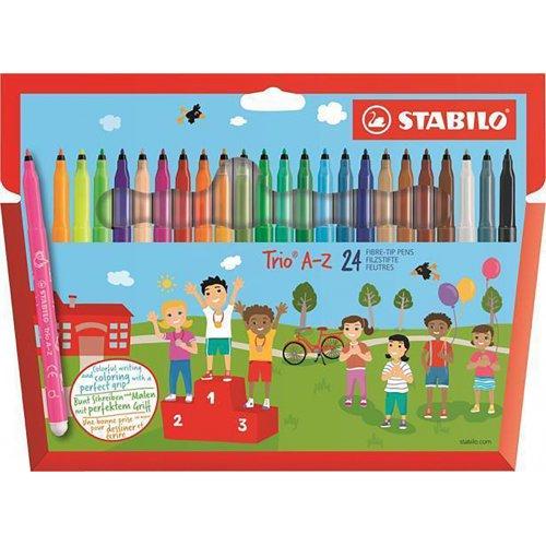 """Fixy """"Trio A-Z"""", sada, 24 různých barev, 0,7 mm, STABILO"""