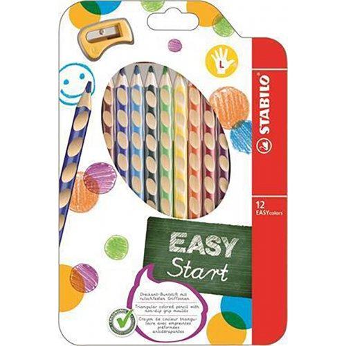 Barevná pastelka Easycolours, HB, trojhranná, pro leváky, 12ks, STABILO
