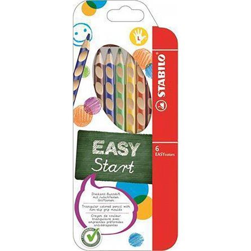 """Barevná pastelka """"Easycolours"""", HB, trojhranná, pro leváky, 6ks/ bal. , STABILO"""