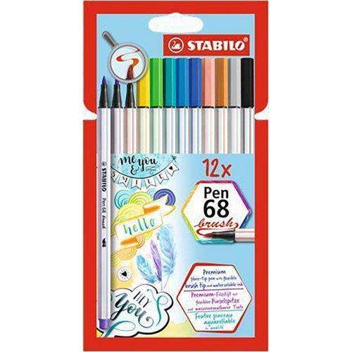 """Štětcové fixy """"Pen 68 brush"""", sada 12 barev, kovová krabička, STABILO"""