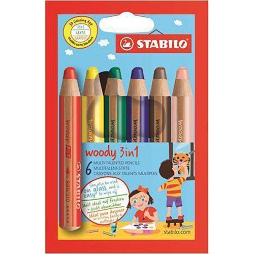 "Barevné pastelky ""Woody"", 6 barev, maxi, 3v1 – pastelky, vodovka, voskovka, STABILO"