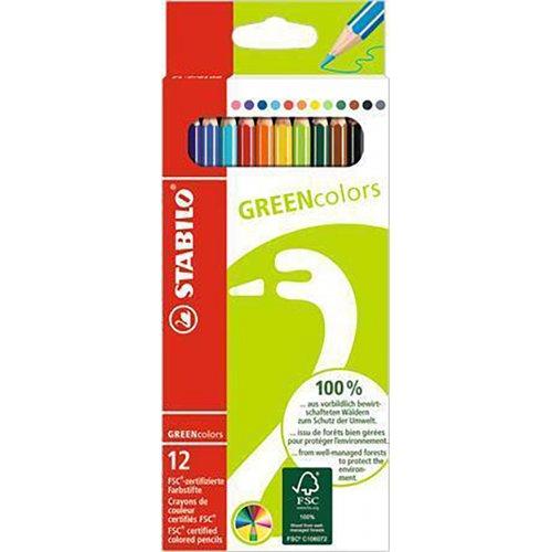 """Barevné pastelky """"GreenColours"""", 12ks, šestihranné, STABILO"""